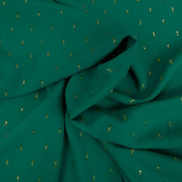 Tissu viscose plumetis dorés vert - France Duval x 10 cm