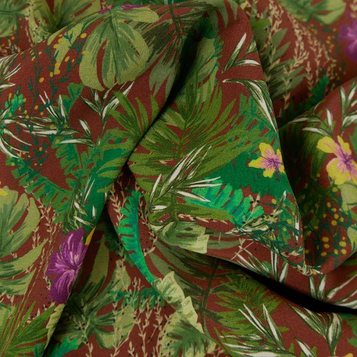 Tissu Viscose Fluide Fleurs - Marron x 10 cm
