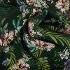 Tissu Viscose Fluide Fleurs - Vert x 10 cm