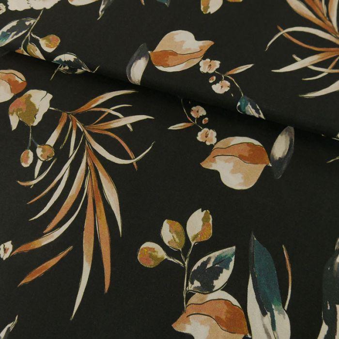 Tissu Viscose Fluide Fleurs - Noir x 10 cm