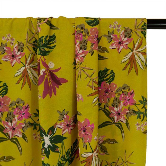 Tissu Viscose Fluide Fleurs - Jaune x 10 cm