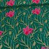 Tissu coton vert fleurs lurex or - Rico Design x 10 cm