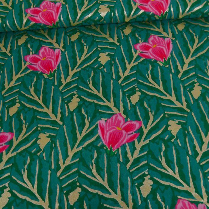 Tissu double gaze coton fleurs dorées vert - Rico Design x 10 cm