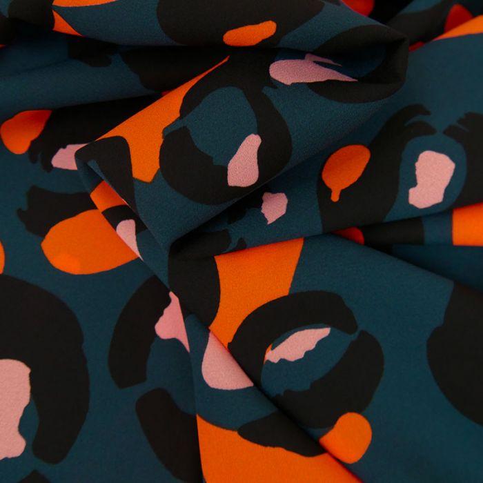 Tissu Polyester Fleurs Oranges - Bleu x 10 cm
