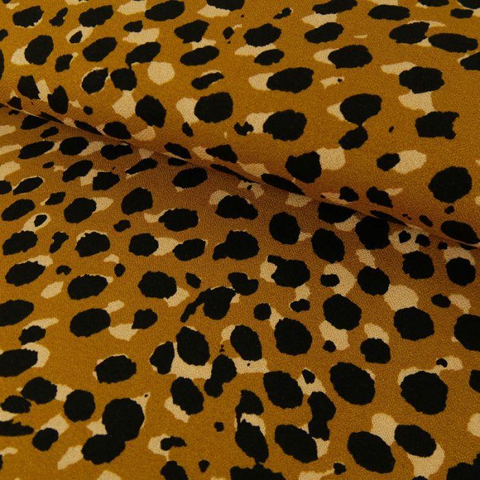 Tissu Viscose Imprimé Léopard - Ocre x 10 cm