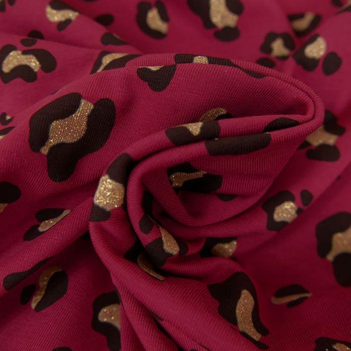 Tissu Jersey Fin Léopard Glitter - Framboise x 10 cm