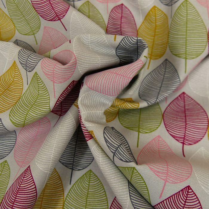 Tissu Toile de Coton Feuilles - Gris Perle x 10 cm
