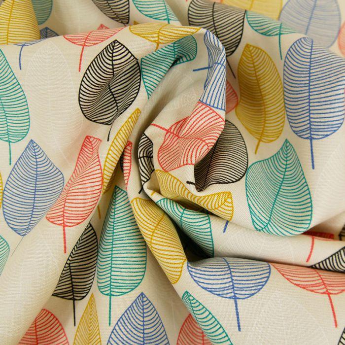 Tissu Toile de Coton Feuilles - Beige x 10 cm