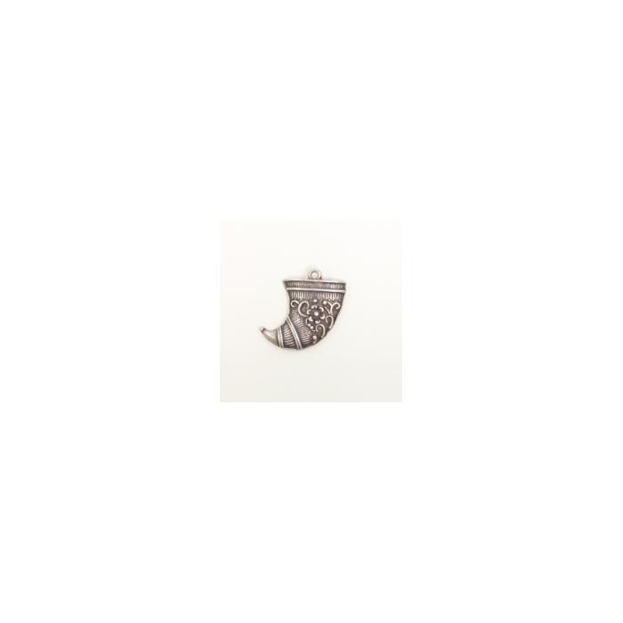 Breloque corne 24mm argent x1