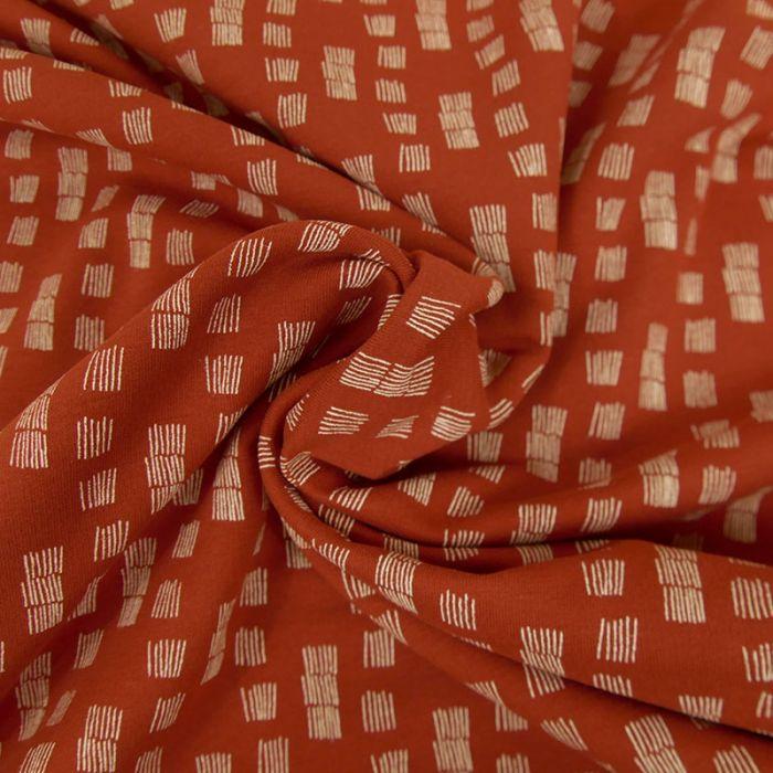 Tissu Jersey Fin Imprimé - Brique x 10 cm