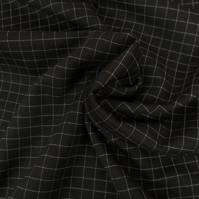 Tissu Polyviscose Fin Carreaux - Noir x 10 cm