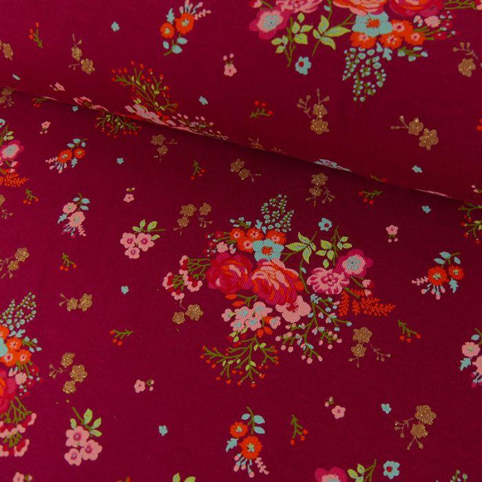Tissu Jersey Fin Fleurs Glitter - Framboise x 10 cm