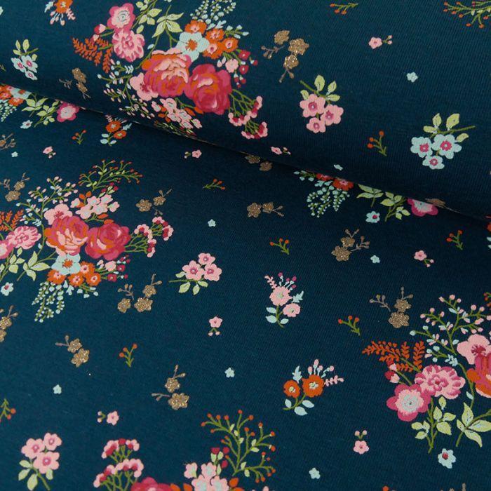 Tissu Jersey Fin Fleurs Glitters - Bleu x 10 cm