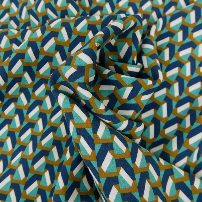 Tissu Viscose Imprimé Géométrique - Bleu x 10 cm