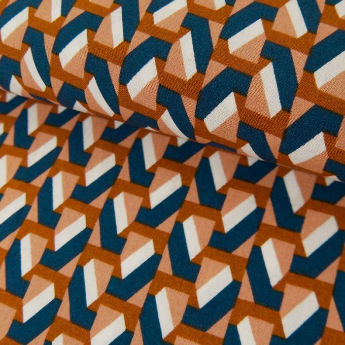 Tissu Viscose Imprimé Géométrique - Camel x 10 cm