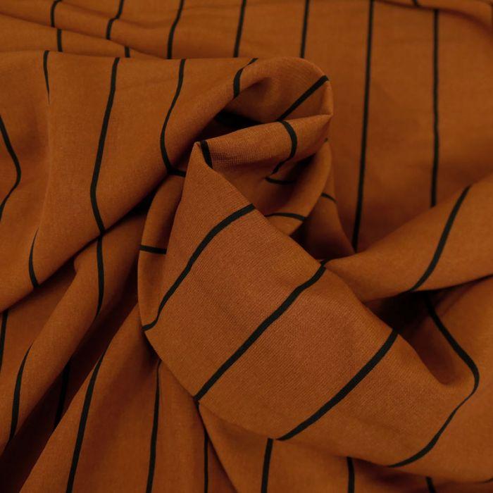 Tissu Polyester Rayures - Caramel x 10 cm