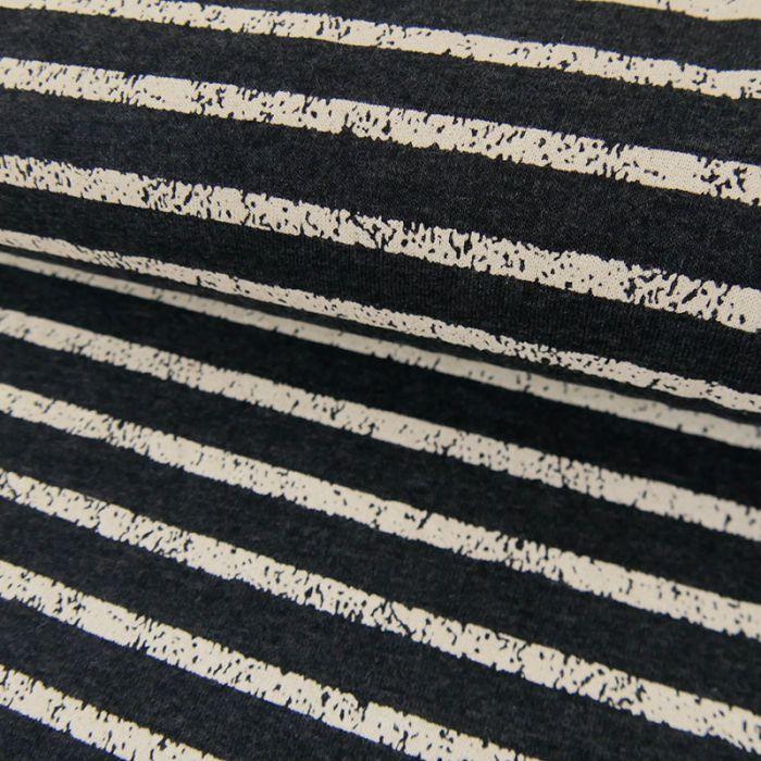 Tissu Jersey Rayures Blanches - Gris Foncé - Poppy x 10 cm