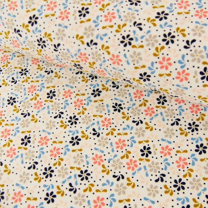 Tissu Velours Milleraies Blanc - Fleurs x 10 cm