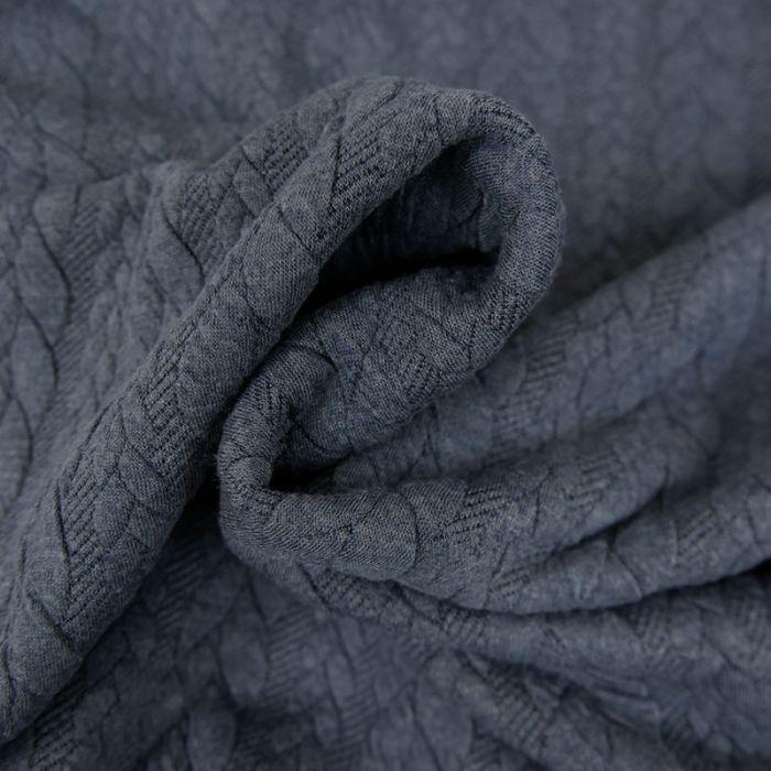 Tissu jersey matelassé torsades - bleu Chiné x 10 cm