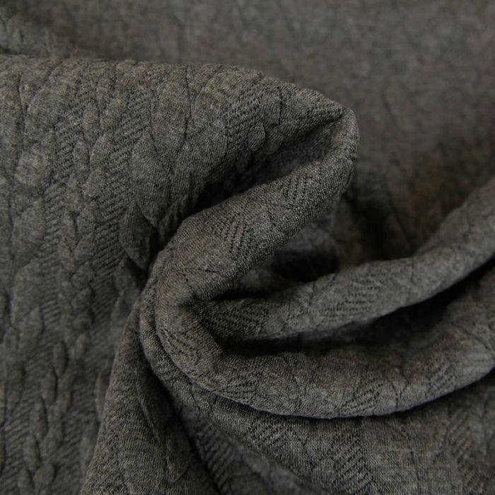 Tissu jersey matelassé torsades - Gris foncé Chiné x 10 cm