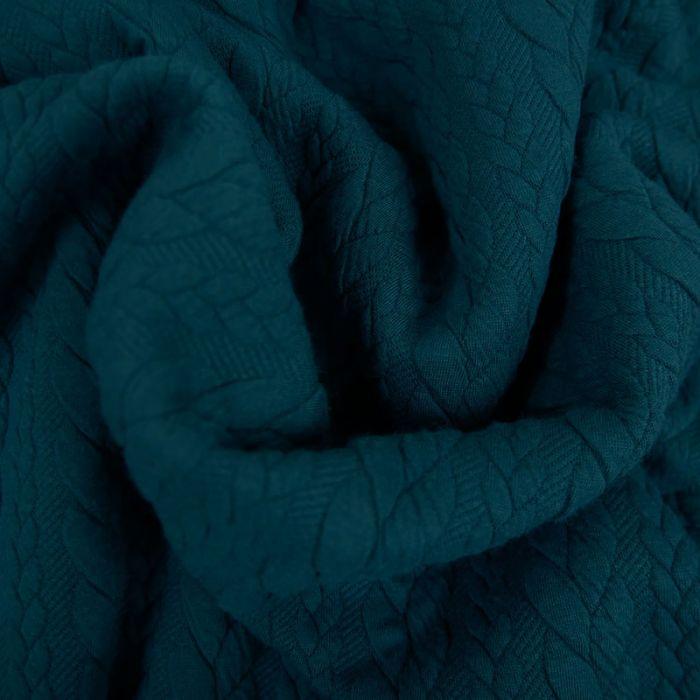 Tissu jersey matelassé torsades - canard  x 10 cm