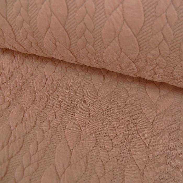 Tissu Polyester Torsadé - Rose Poudré  x 10 cm