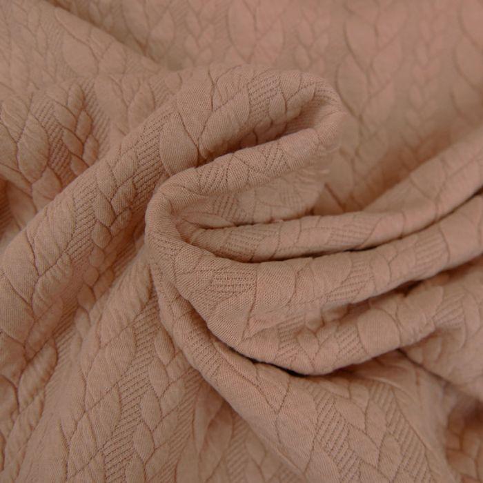Tissu jersey matelassé torsades - Rose Poudré  x 10 cm