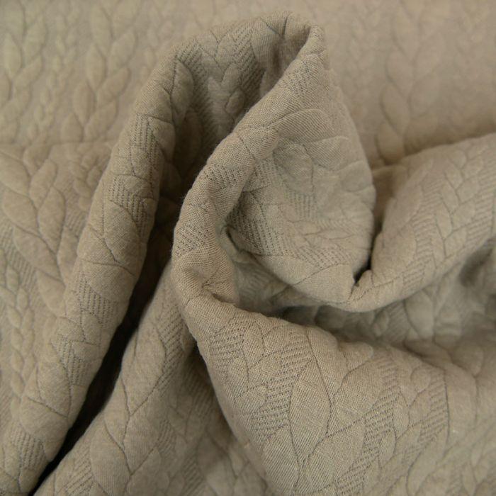 Tissu jersey matelassé torsades - Sable  x 10 cm