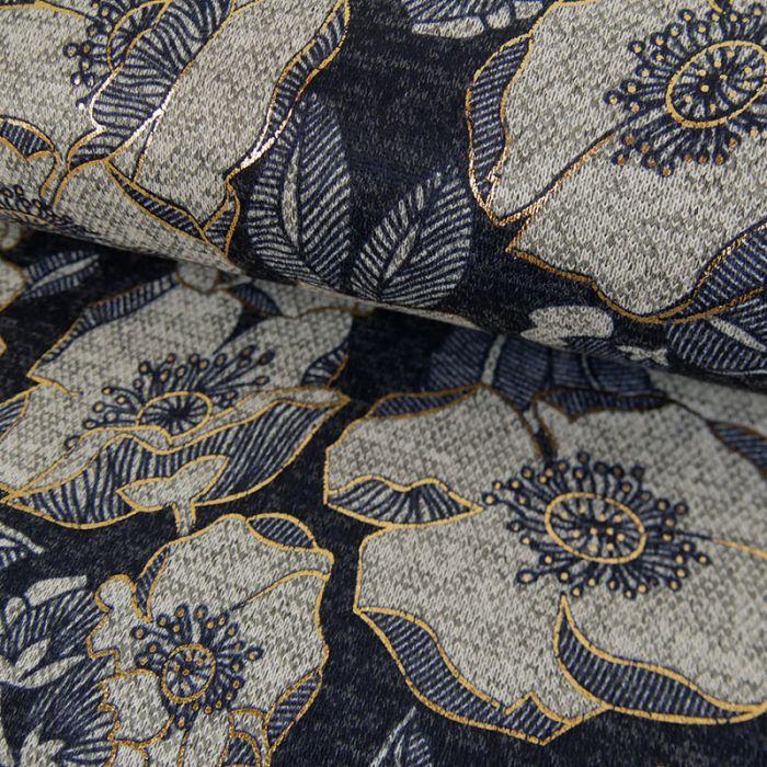 Tissu Polyviscose Fleurs Lurex - Bleu et Gris x 10 cm
