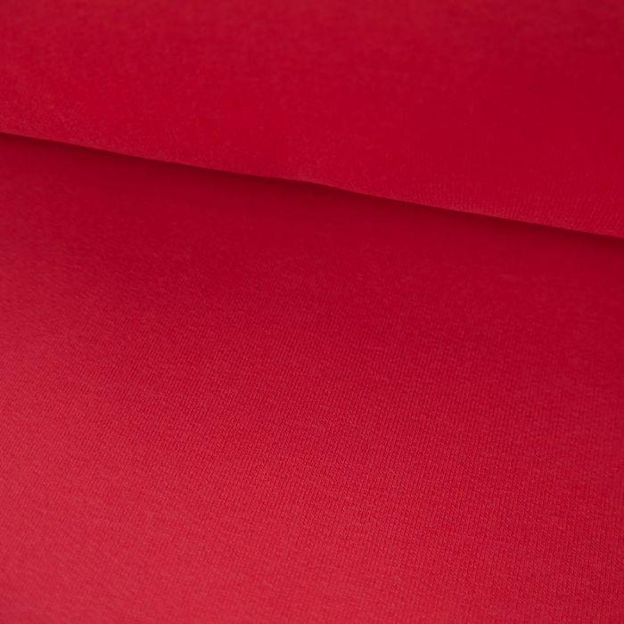 Tissu jersey sweat léger bio uni - rouge framboise x 10 cm