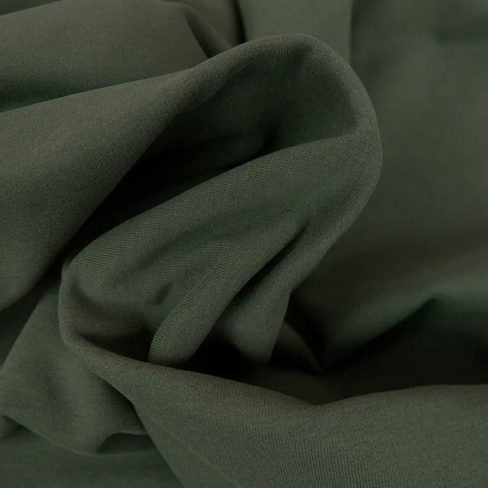 Tissu jersey sweat léger bio uni - vert kaki x 10 cm