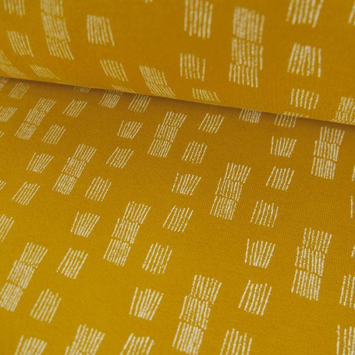 Tissu molleton fin graphique - Jaune x 10 cm