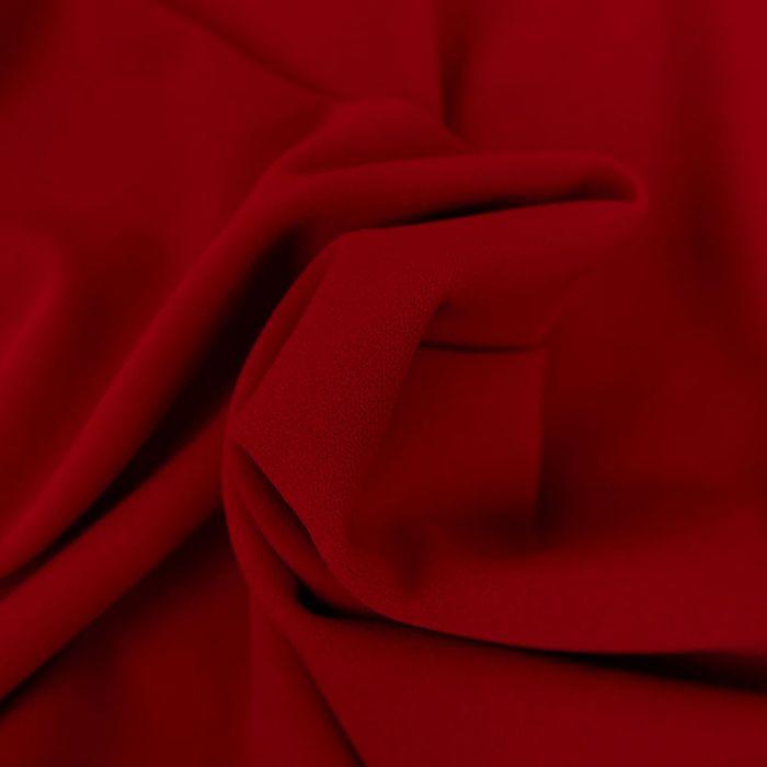 Tissu Polyester Uni Stretch - Rouge x 10 cm