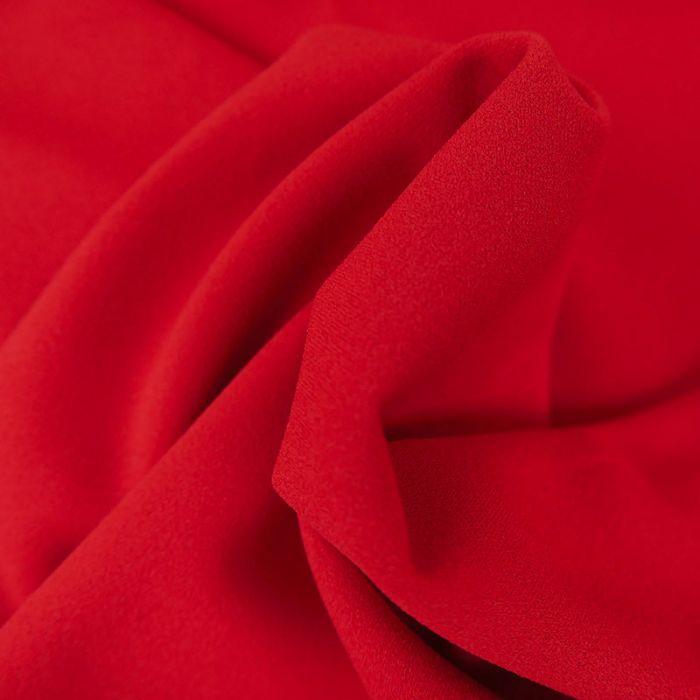 Tissu crêpe lourde uni stretch - Coquelicot x 10 cm
