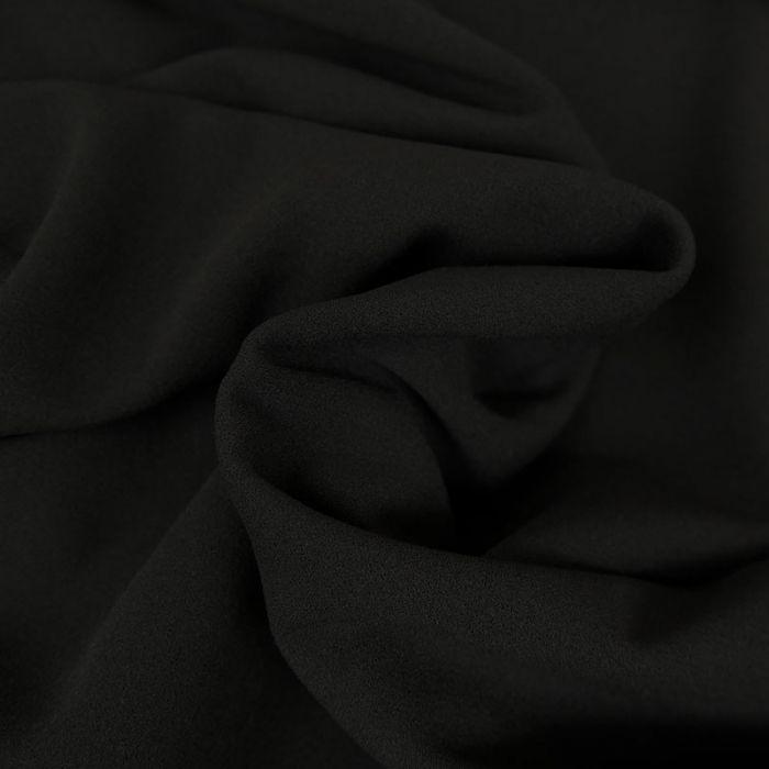 Tissu Polyester Uni Stretch - Noir x 10 cm