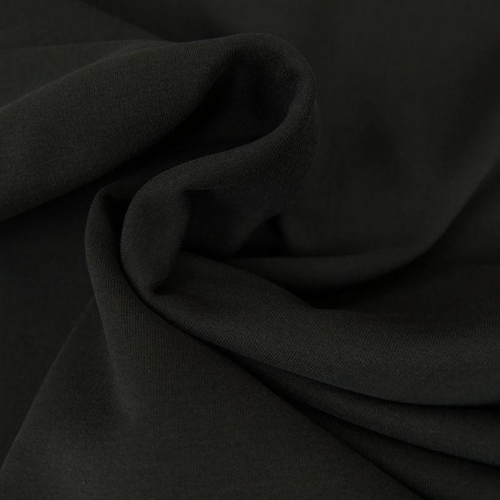 Tissu jersey sweat léger bio uni - noir x 10 cm