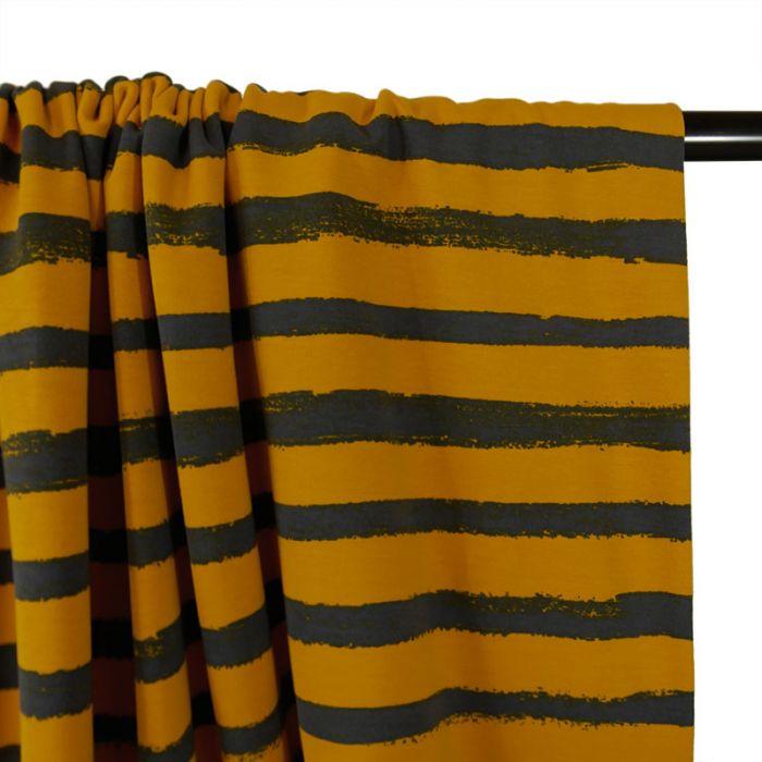 Tissu Jersey Rayures Grises - Jaune x 10 cm