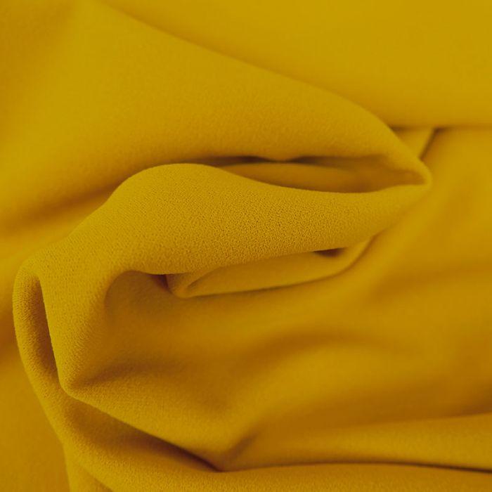 Tissu Polyester Uni Stretch - Jaune x 10 cm