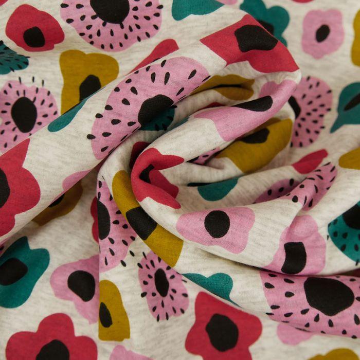 Tissu Jersey Polaire Fleurs - Gris Chiné x 10 cm