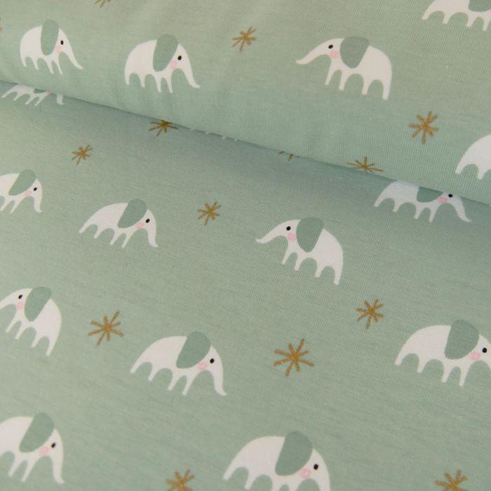 Tissu Jersey Coton Eléphant Mint - Rico Design x 10 cm