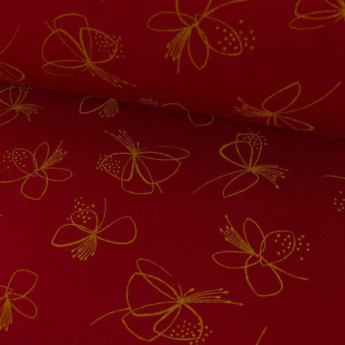 Tissu Jersey Fin Fleurs - Rouge x 10 cm