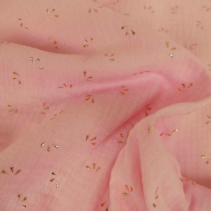 Tissu double gaze pétales dorés - rose x 10cm