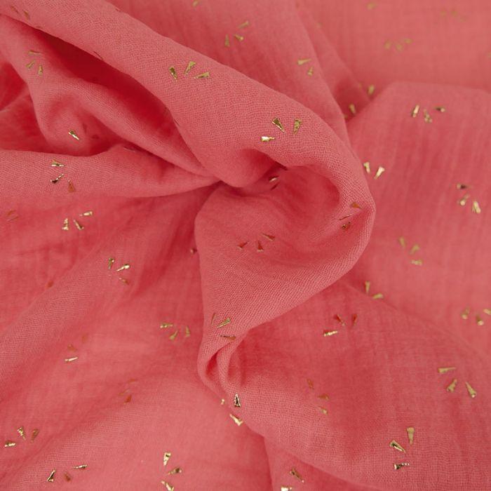 Tissu double gaze pétales dorés - corail x 10cm
