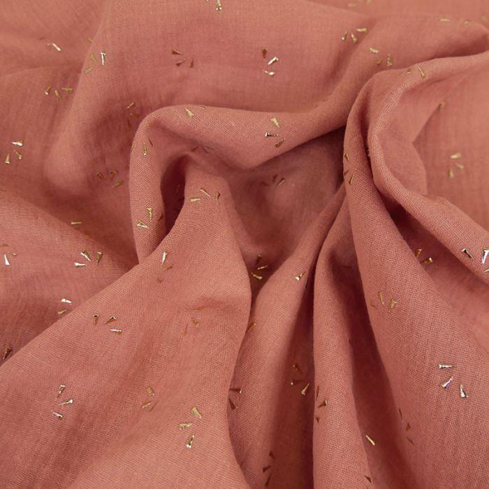 Tissu double gaze pétales dorés - vieux rose x 10cm