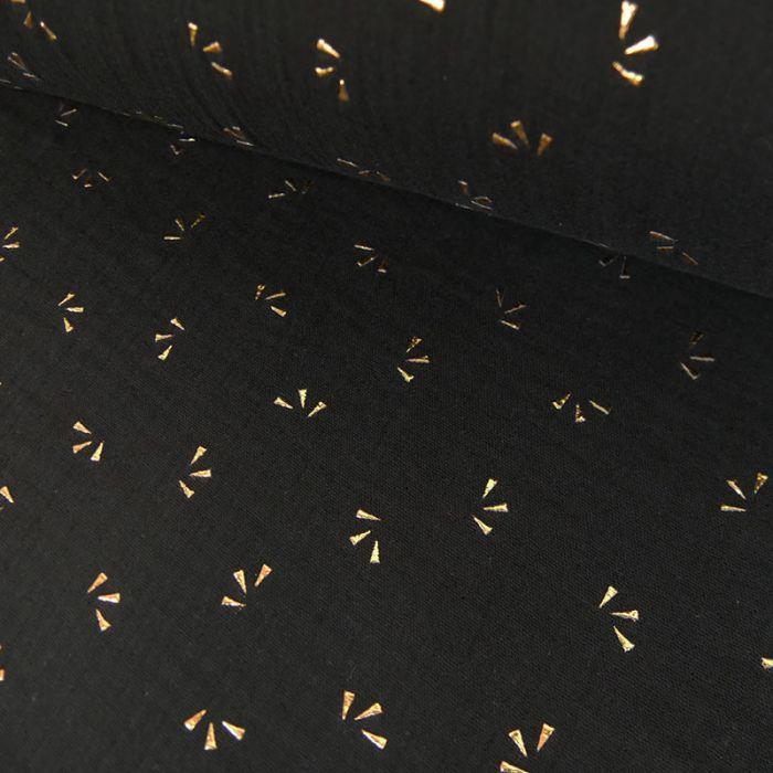 Tissu double gaze pétales dorés - noir x 10cm