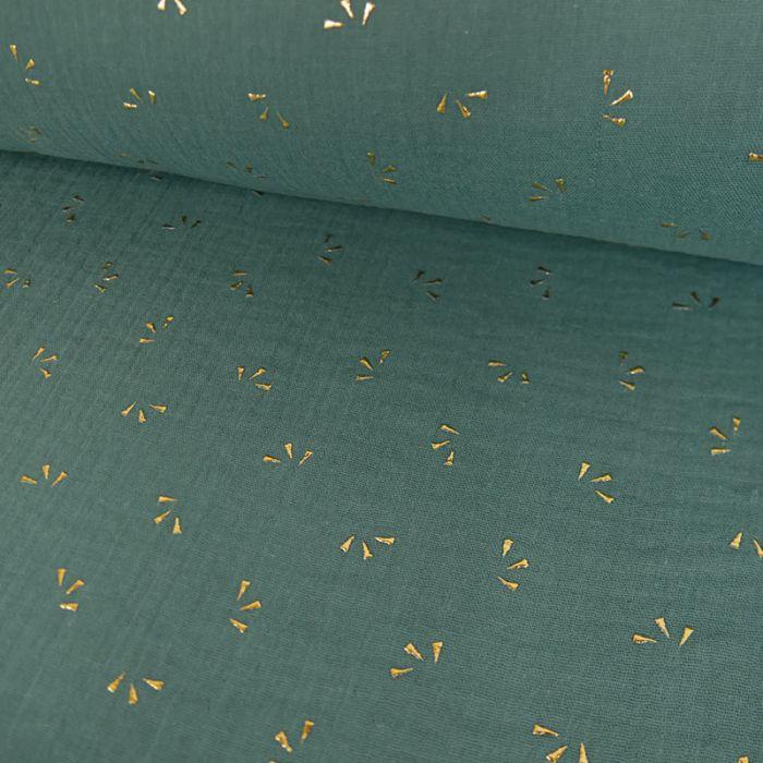 Tissu double gaze pétales dorés - eucalyptus x 10cm