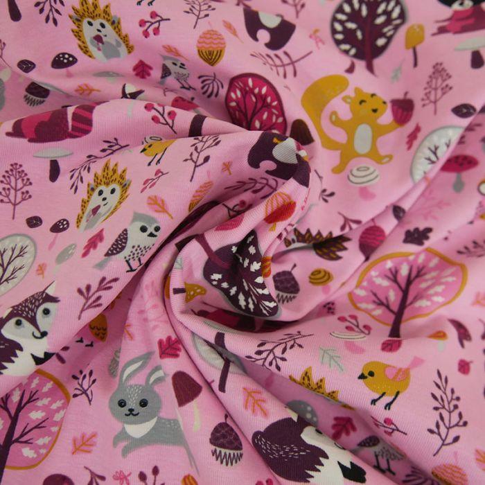 Tissu jersey animaux forêt - rose x 10 cm