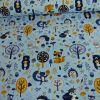 Tissu jersey animaux forêt - bleu x 10 cm