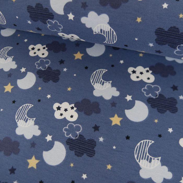 Tissu jersey lunes étoiles - bleu x 10 cm