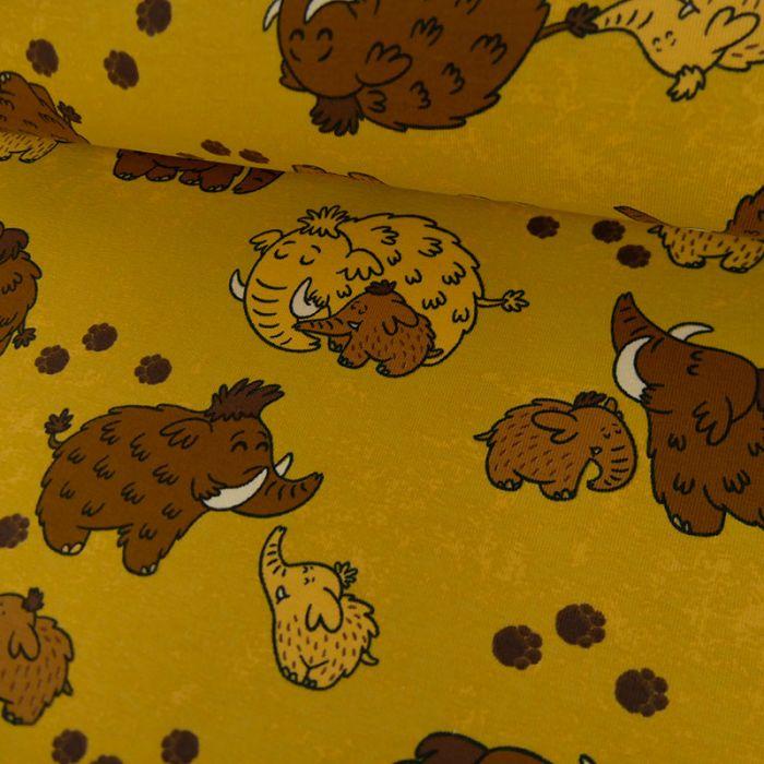 Tissu jersey mammouths - jaune chiné x 10 cm